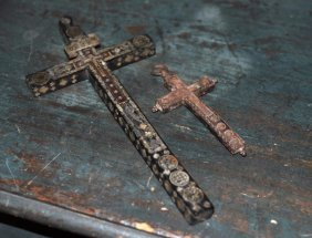 Two Crucifixes, One Large MOP Inlaid