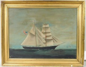 China Trade American Ship Portrait O/C