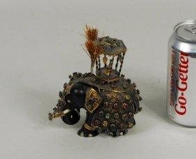 Wood & Gilt Metal Jeweled Elephant