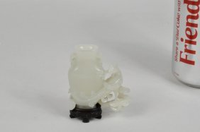 Chinese Carved Mutton Fat Jade Vase On Wood Stand