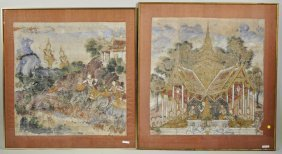 Two Framed Thai Paintings On Fabric