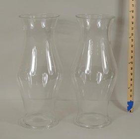 Pair Williamsburg Style Glass Hurricane Shades