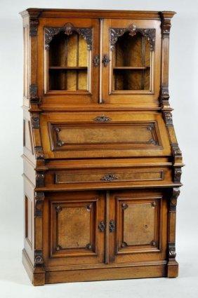 Victorian Walnut & Birdseye Maple Secretary