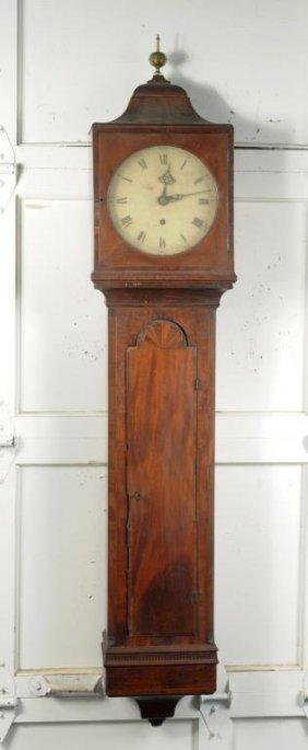 Rare Georgian Inlaid Mahogany Wall Clock