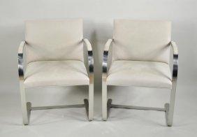 Pair Knoll Mies Van Der Rohe Flat Bar Brno Chairs
