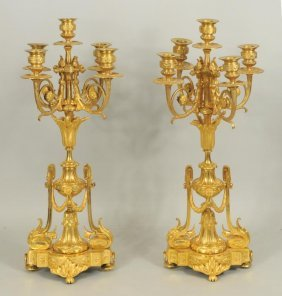 Pair French Gilt Bronze Five Light Candelabra