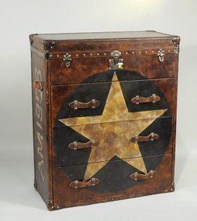 A. Martin English, Paint Decorated Leather Trunk