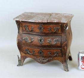 Miniature Louis XV Style Veneered 3-Drawer Commode