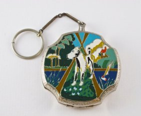 1920s J.M. Fisher �The Mutt� Enamel Compact