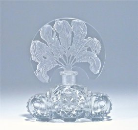C1930 Czech Intaglio Crystal Perfume Bottle
