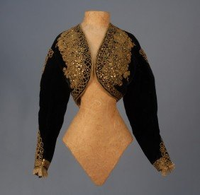 SILK VELVET JACKET With GOLD CORD And SEQUINS, C.