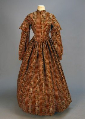 PRINTED WOOL DAY DRESS 1850's. 1-piece Patterned W
