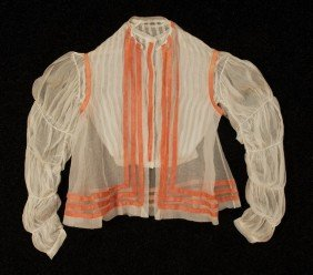 LADY'S WHITE GAUZE BLOUSE And VEST, 1860's. The Bl