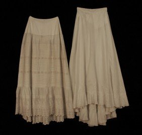 TWO WHITE COTTON PETTICOATS, 1869 And LATE 19th C.