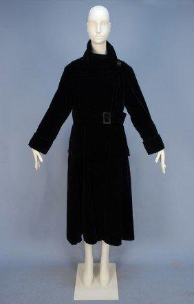 REDFERN BLACK VELVET LONG COAT, EARLY 20th C. Lush