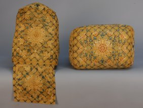 PAIR CHINESE SILK EMBROIDERED SQUARE PILLOWS, 18th