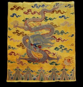 LARGE CHINESE EMBROIDERED SILK DRAGON PANEL, 19th C