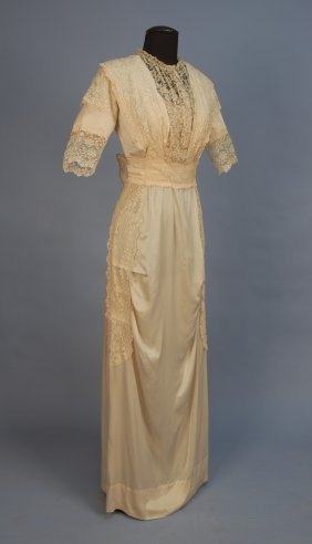 EDWARDIAN SILK And LACE GOWN. Ivory Charmeuse Havi