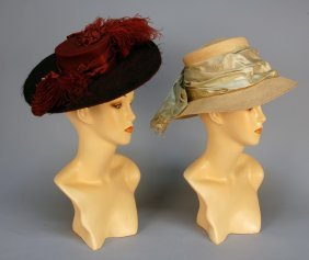 TWO WIDE BRIM HATS, C. 1905. One Claret And Black