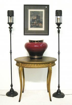 Pair Of Forged Iron Tourchieres Lamps