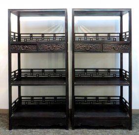 Pair Of Zitan Chinese Cabinets