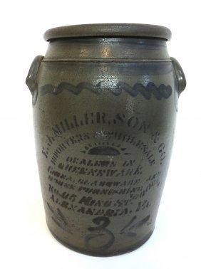 Stoneware Crock By E. J. Miller & Son