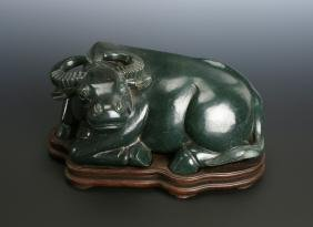 CHINESE SPINACH JADE WATER BUFFALO ON STAND
