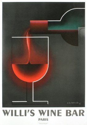 Cassandre Willi's Wine Bar Lithograph
