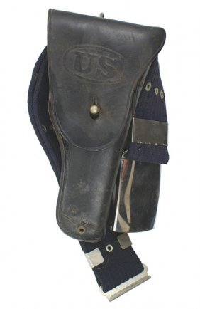 U.S. Navy WWII Blue Web Belt And 45 Cal. Holster