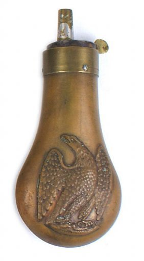 Antique American Copper Pistol Flask