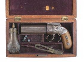 Cased Allen Percussion Pepperbox Pistol