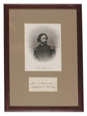 Framed Civil War Print Of John C. Fremont Signed