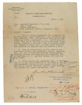 1917 Typed Letter From Franklin D Roosevelt