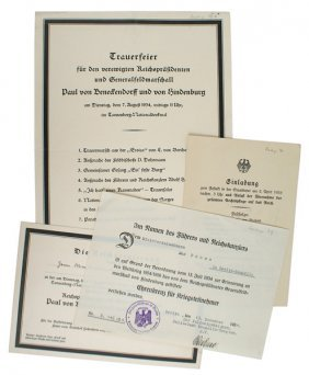 Funeral Of President Hindenburg Documents
