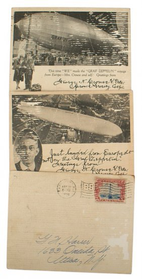 Lot Of 3 Post Cards Graf Zeppelin