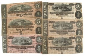 Lot Of 6 Civil War Confederate Notes