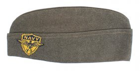 U.s. Navy Wwii O.d. Wool O'seas Cap