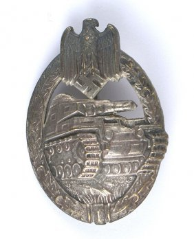 German Wwii Panzer Badge Silver