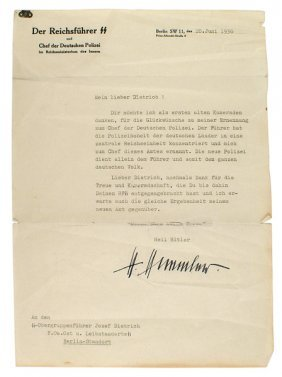 German Wwii Letter Signed By H Himmler