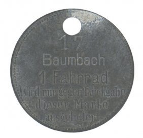 Third Reich City Of Baumbach Bicycle Tag