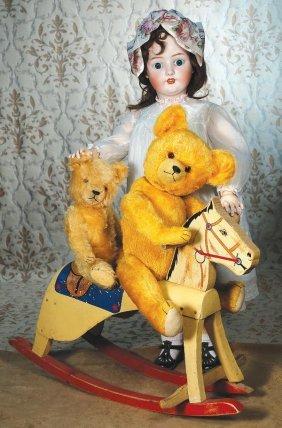 "TWO GOLDEN MOHAIR TEDDY BEARS. 23"" & 17"" Golden"