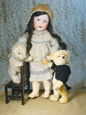 "TWO MOHAIR TEDDY BEARS. (1) 13"" Chubby-type Cham"