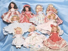 GROUP OF NINE ALL-BISQUE NANCY ANN STORYBOOK DOLL