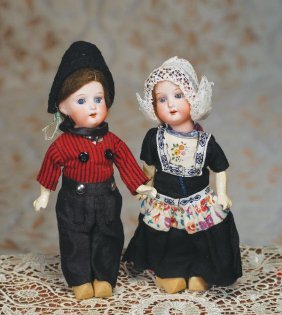 PAIR OF TINY ALL-ORIGINAL GERMAN BISQUE DOLLS BY