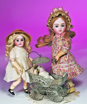 PETITE GERMAN BISQUE DOLL BY MYSTERY MAKER.  Marks: