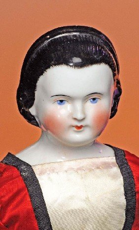 "GERMAN CHINA LADY WITH GILT SNOOD.  19"".  Porcelain"