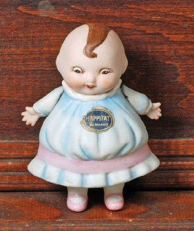 "HAPPIFAT ALL-BISQUE GERMAN CHARACTER DOLL.  4"".  Al"