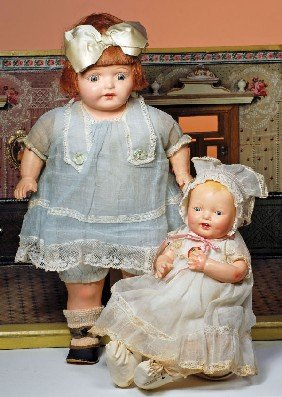 ALL-ORIGINAL 1920'S COMPOSITION DOLL.  Marks: None