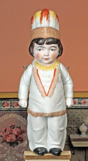 """GERMAN ALL-BISQUE INDIAN DOLL.  7 �"""".  Jointed At"""