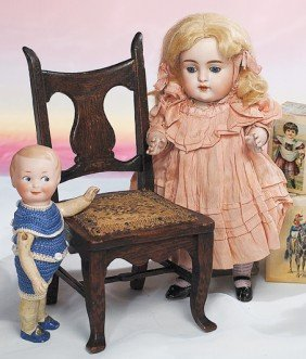 LARGE, ALL-ORIGINAL KESTNER ALL-BISQUE DOLL.  Marks